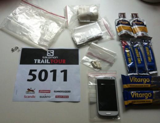 Packningen till morgondagens ultralopp - Salomon Trail Tour Umeå - Ultramarathon (15/9 2013).
